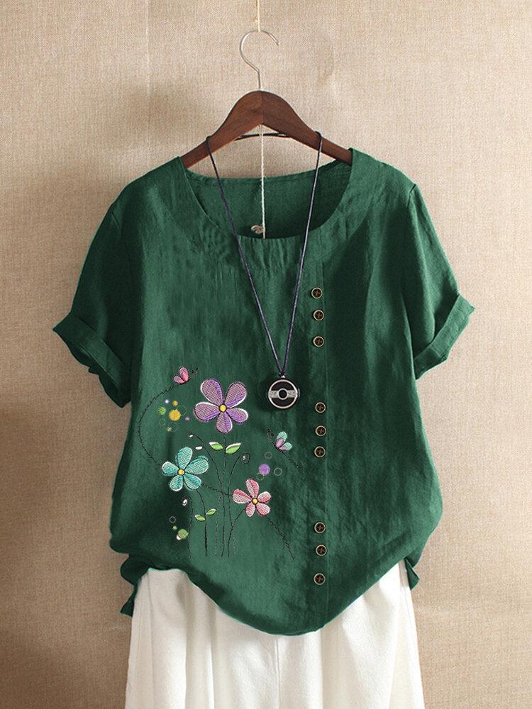 Blumenstickerei Kurzarm O-Ausschnitt Button T-Shirt