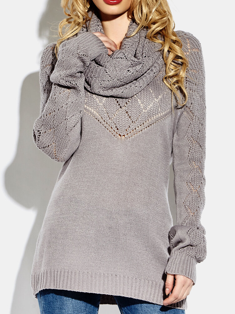 Solid Color Button Knitted Turtleneck Two-pieces Sweater Blouse