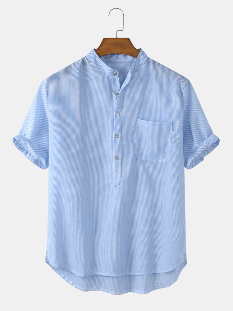 Mens Solid Wash Striped Cotton Breathable Casual Henley Shirt