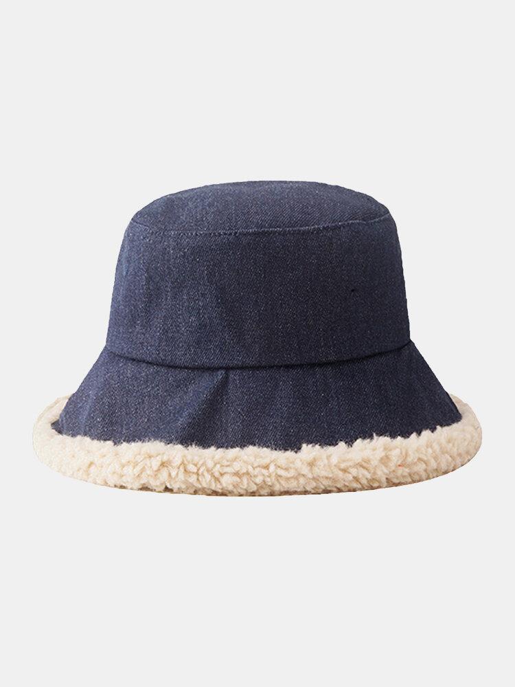 Women Lamb Wool Casual Thicken Warm Winter Thermal Hat Bucket Hat