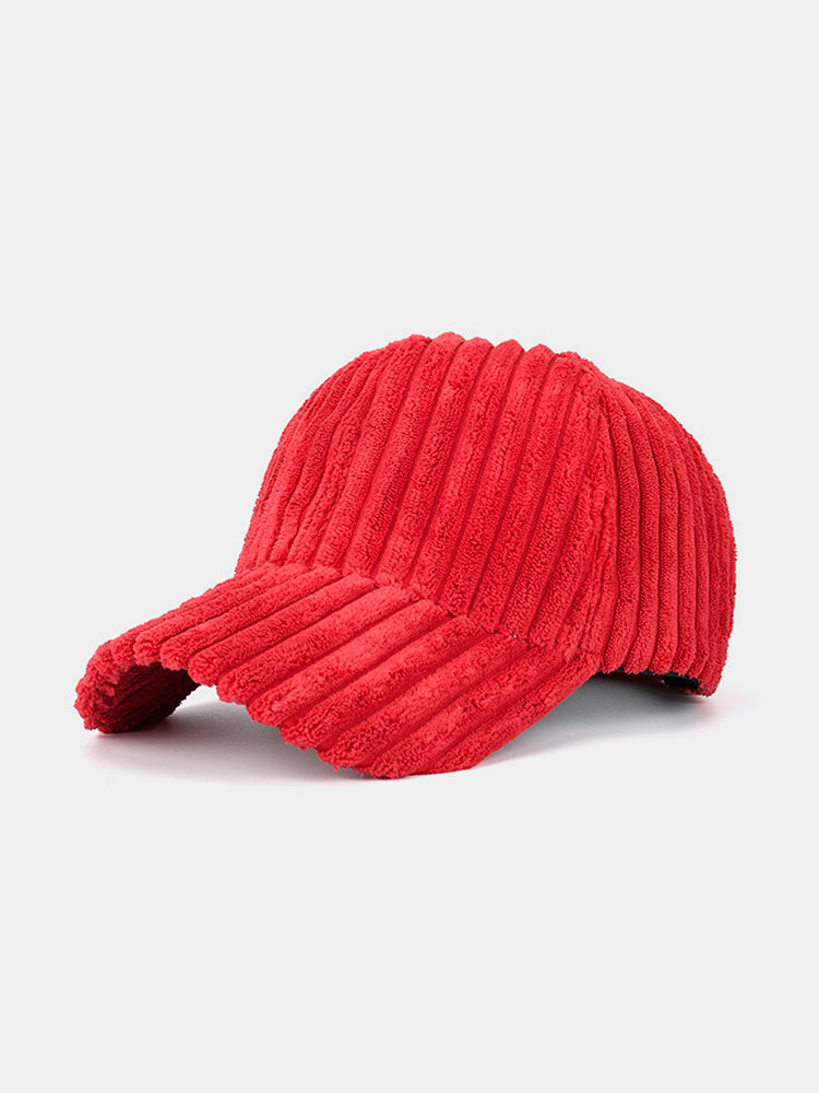 Men Women Striped Corduroy Baseball Cap Sun Hat Outdoor Sunshade Hat