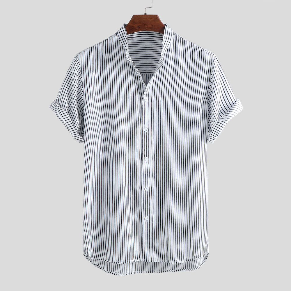 53e564386518 Mens Classic Striped Breathable Stand Collar Short Sleeve Casual Loose  Shirts