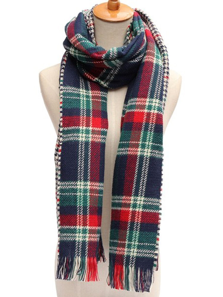 Thicken Oversized Blanket Two SidesTartan Scarf Tassels Plaid Checked Pashmina