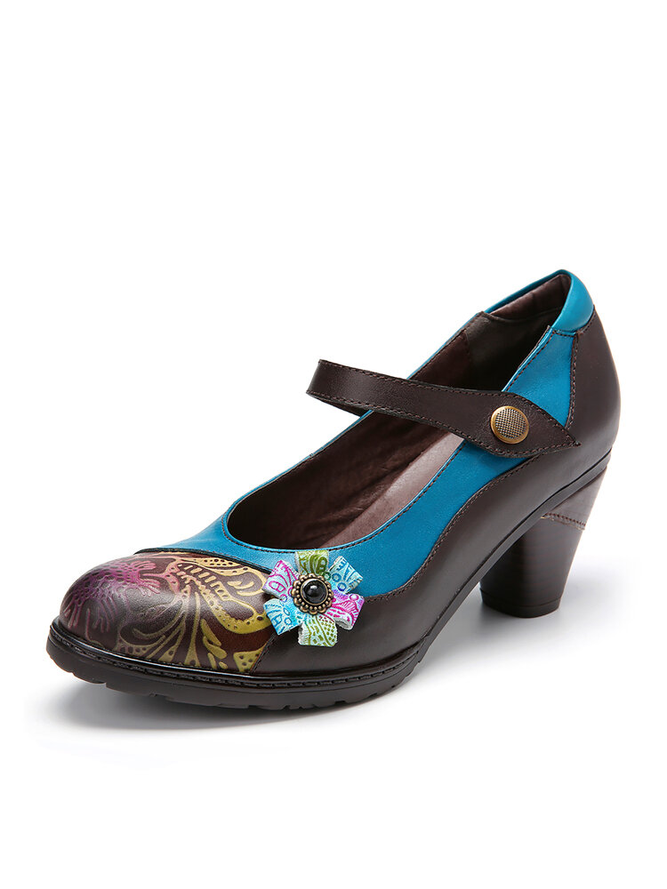 SOCOFY Retro Leather Floral Splicing Chunky Heel Pumps Mary Jane Dress Shoes