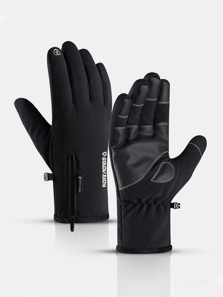 Men Nylon PU Plus Velvet Touch Screen Waterproof Non-slip Wear-resistant Thick Warmth Zipper Mountaineering Skiing Gloves