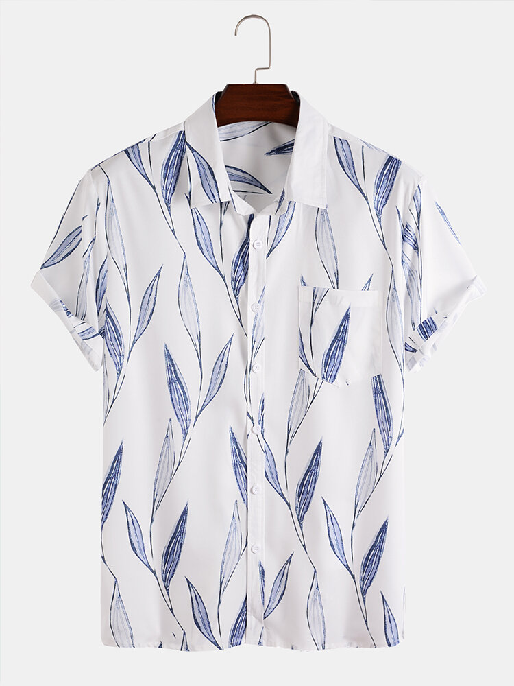 Mens All Over Leaf Print Lapel Holiday Short Sleeve Shirts