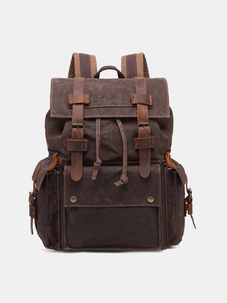 Men Retro Outdoor Waterproof Genuine Leather Canvas Patchwork Hiking Travel Backpack