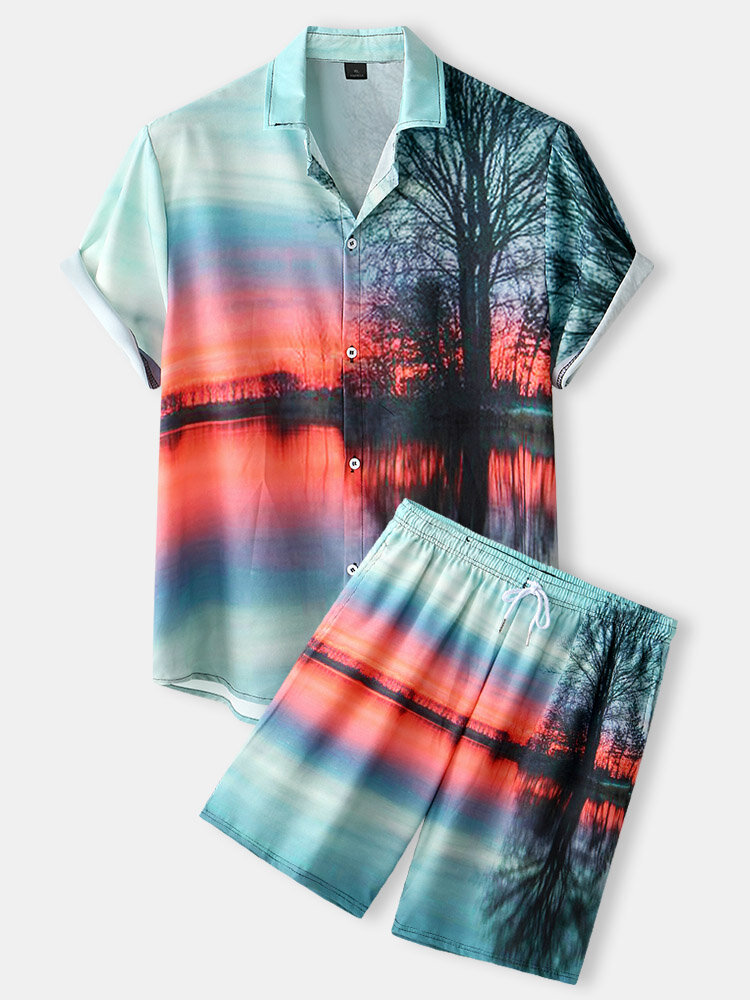 Mens Sunset Glow Scenery Print Lapel Drawstring Shorts Casual Two Pieces Outfits