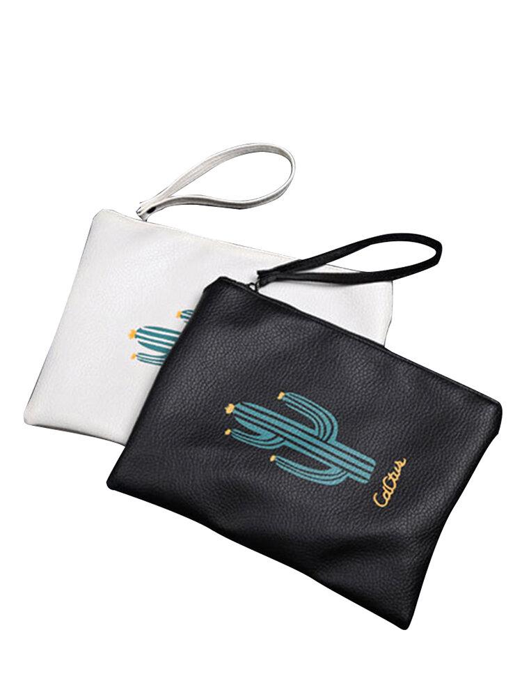 Cactus Pattern Leather Cosmetic Bag Waterproof Durable Handheld Bag