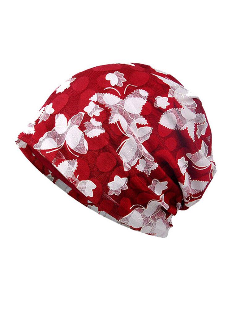 Women Lace Jacquard Bonnet Breathable Cotton Beanie Casual Outdoor Sun Hat