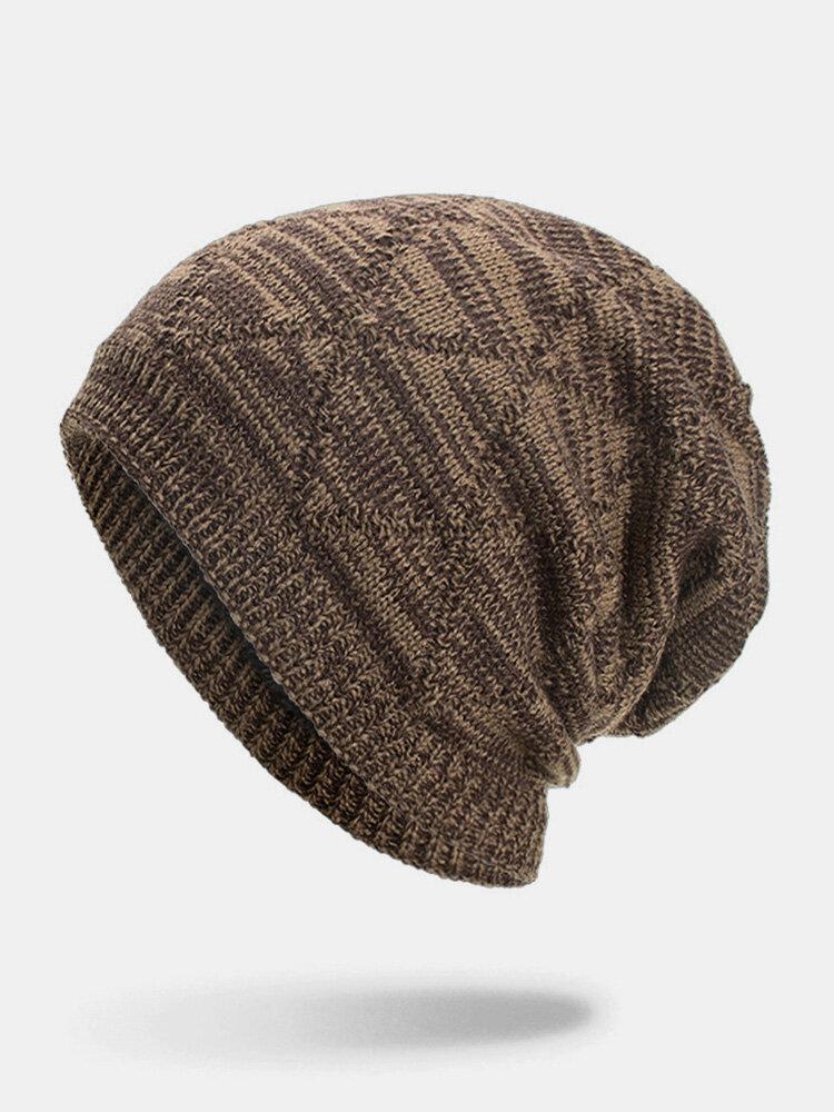 Men Winter Plus Velvet Striped Pattern Outdoor Long Knitted Warm Beanie Hat