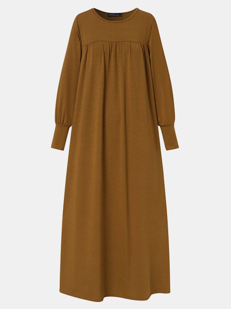 Women Vintage Solid Color Long Sleeve O-neck Casual Dress
