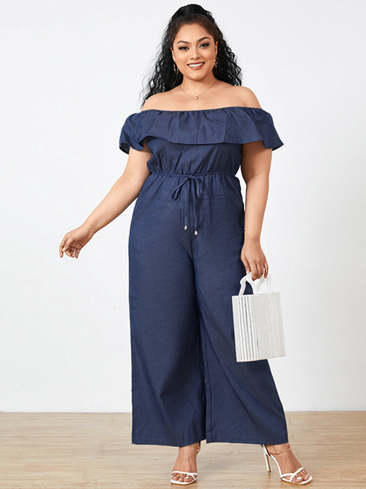 Casual Off Shoulder Short Sleeve Wide Leg Plus Size Jumpsuit with Pockets