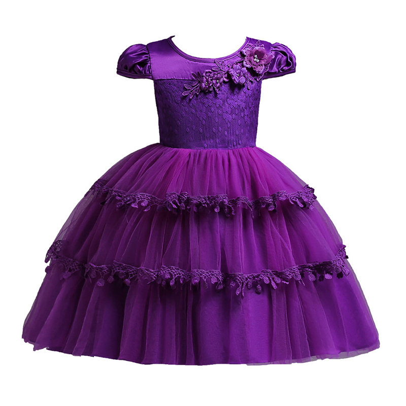 3D Flower Patch Girls Formal Fancy Layered Princess Dress For 2Y-13Y