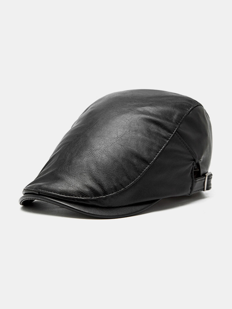 Men Women  Vintage PU Leather Beret Flat Cap Casual Windproof Duck Hat Adjustable Newsboy Cap