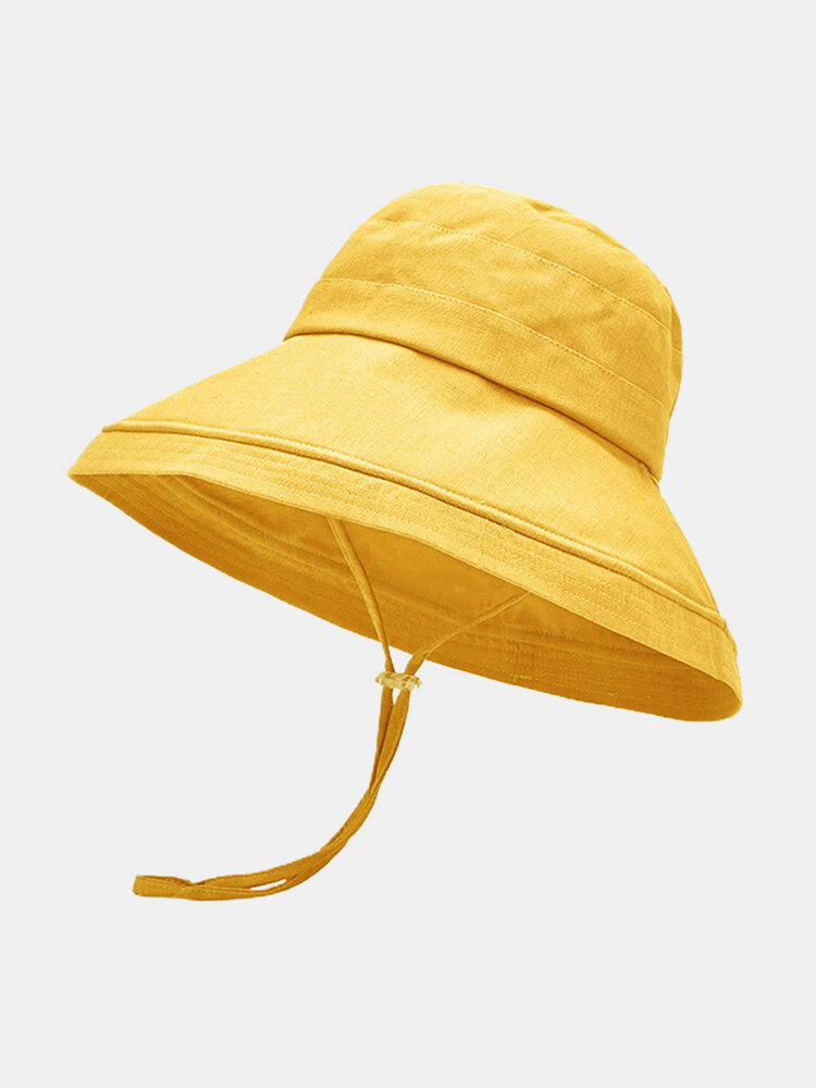 Women Cotton And Linen Solid Color Big Brim Sun Protection Bucket Hat