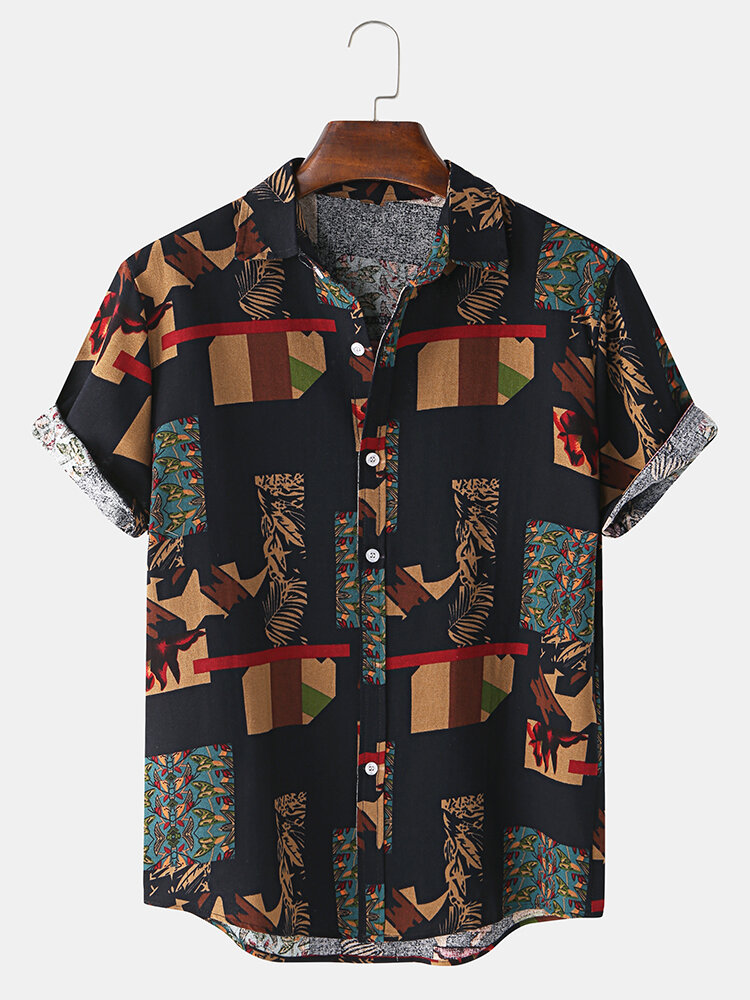 Mens Ethnic Style Patchwork Casual Short Sleeve Shirt