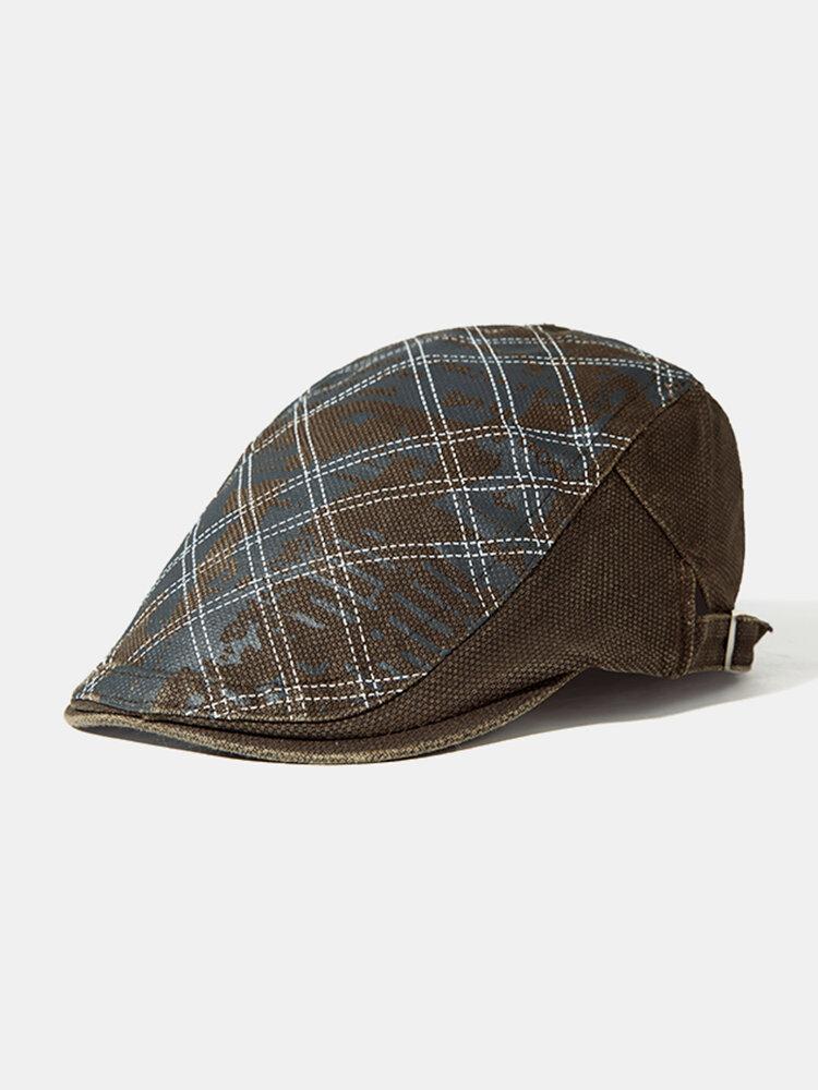 Men Plaid Cotton Beret Cap Adjustable Print Hats Casual Outdoor Warm Windproof Caps Sun Hats