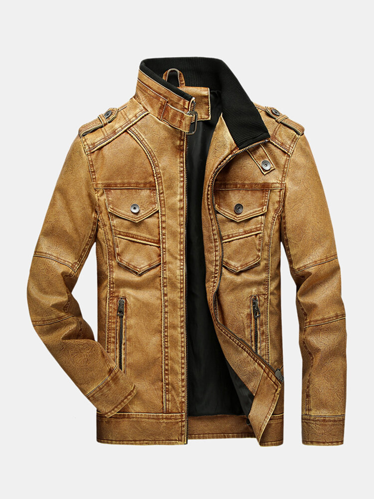 Mens Faded Effect Zip Front Casual Washed PU Jackets With Pocket