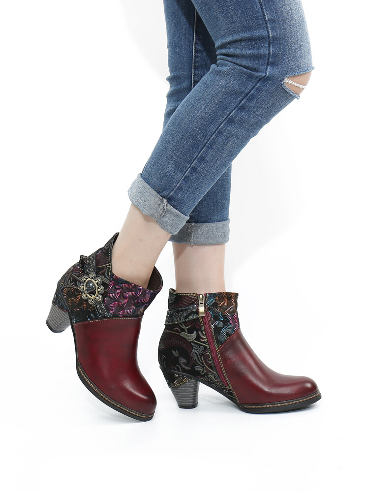 SOCOFY Vintage Genuine Leather Embroidery Splicing Warm Lining Comfy Chunke Heel Short Boots