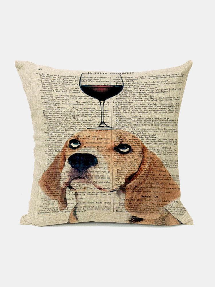 Animal Head Wine Glass Pattern Linen Cushion Cover Home Sofa Art Decor Throw Pillowcase