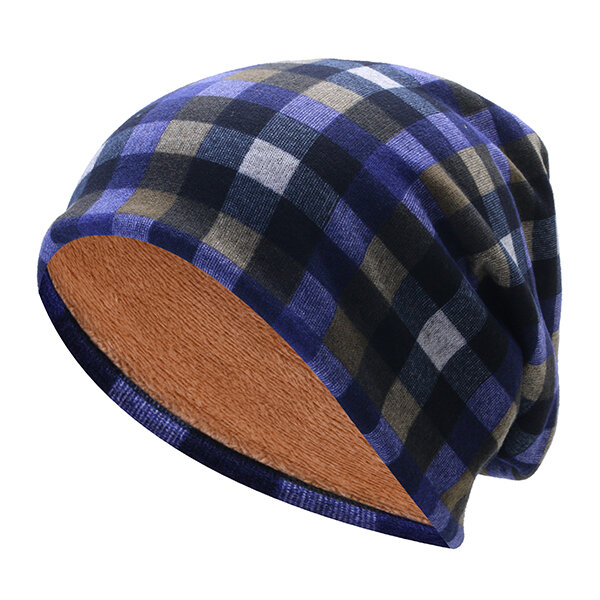 Mens Womens Grid Cotton Thickening Velvet Beanies Cap Knitted Soft Bonnet Hat And Scarf Dual-Use