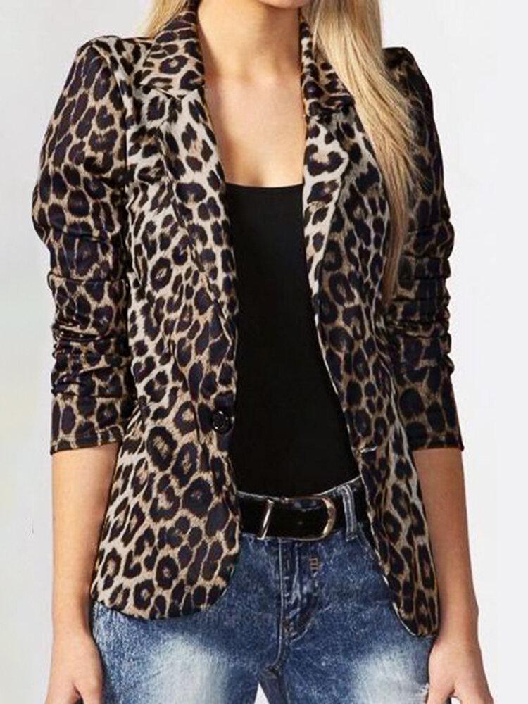 Leopard Print Long Sleeves Button Lapel Jacket Suit with Shoulder Pad