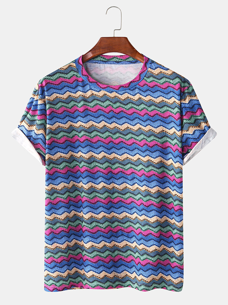Mens Fun Colorful Lines Chevron Knit Casual Round Neck T-shirt