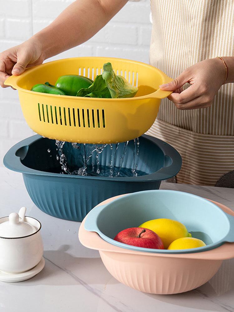 مزدوجة الطبقات استنزاف سلة المطبخ حوض غسيل الأواني البلاستيكية سلة الفاكهة استنزاف المياه غسل سلة
