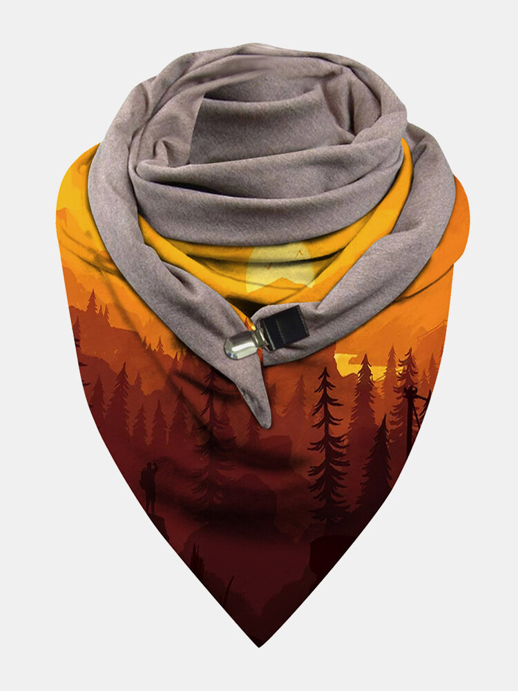 Women Dacron Landscape Print With Buckle Casual Thin Warmth Shawl Scarf