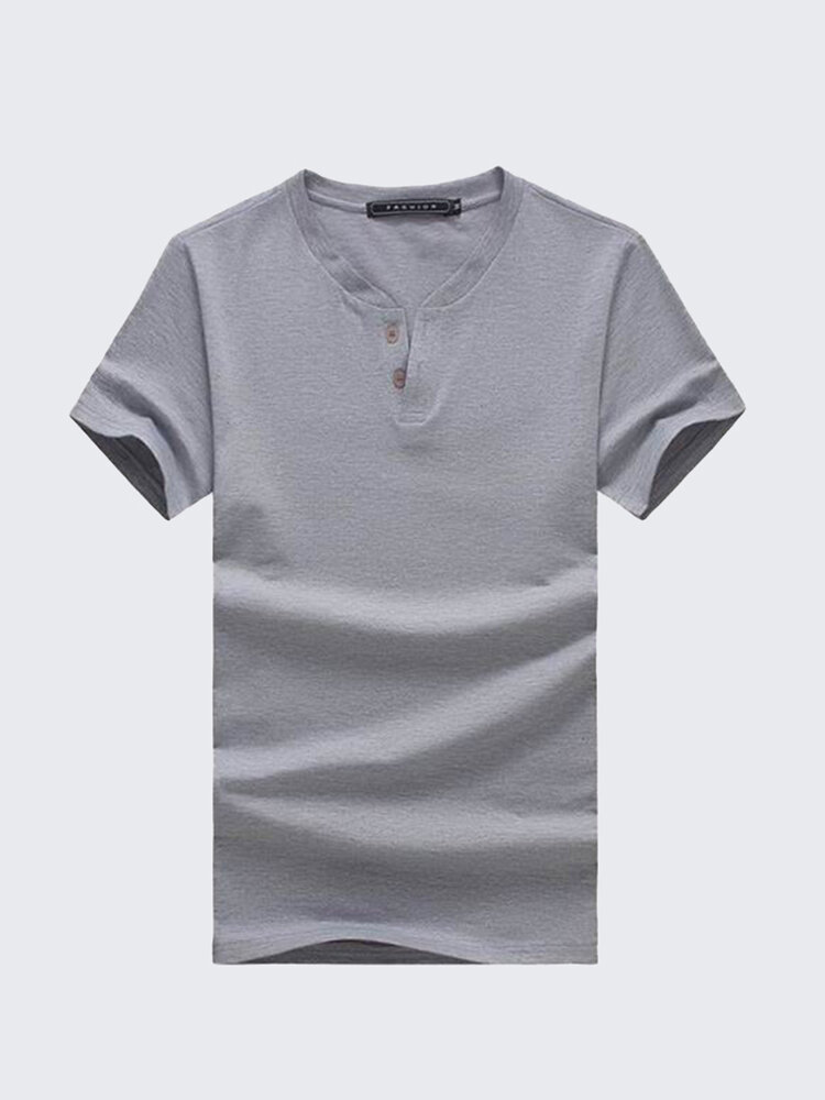 Large Size Mens Summer Cotton Solid Color Crew Neck Short Sleeved Basic T Shirts