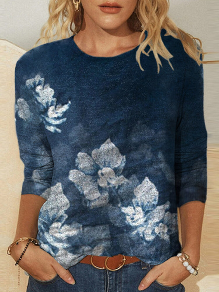Flower Print O-neck Long Sleeve Casual Plus Size T-Shirt