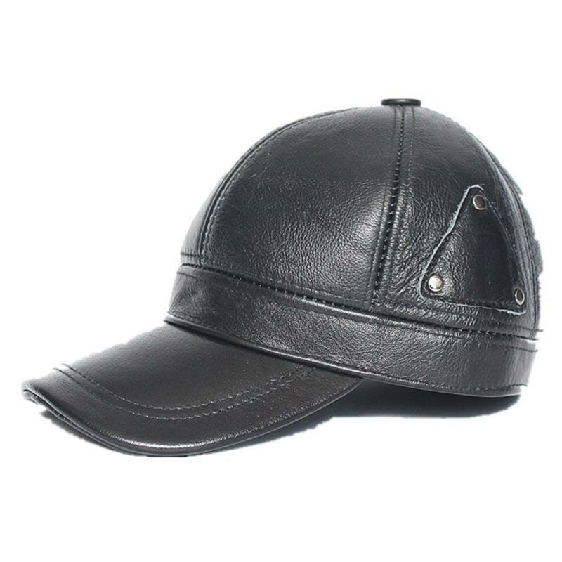 Men Genuine Leather Keep Warm Plus Thick Ear Protected Casual Baseball Hat