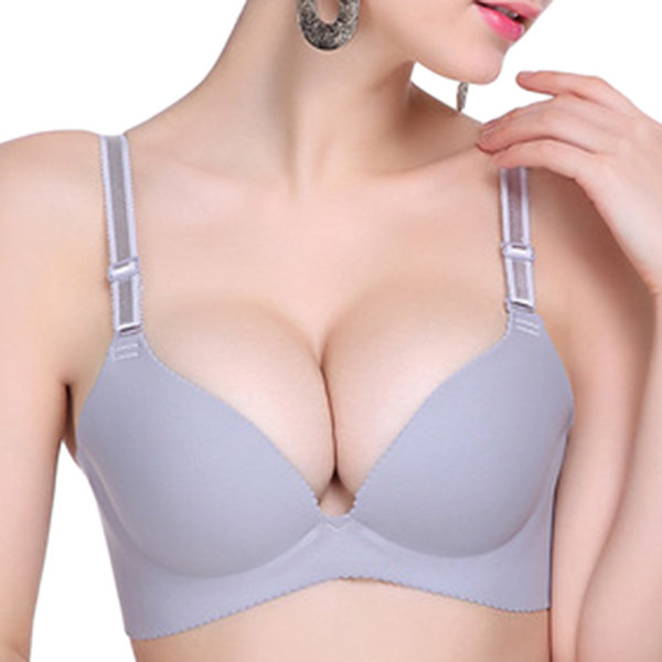 Sexy Seamless Adjustable Gather Bra V Neck Push Up Bras