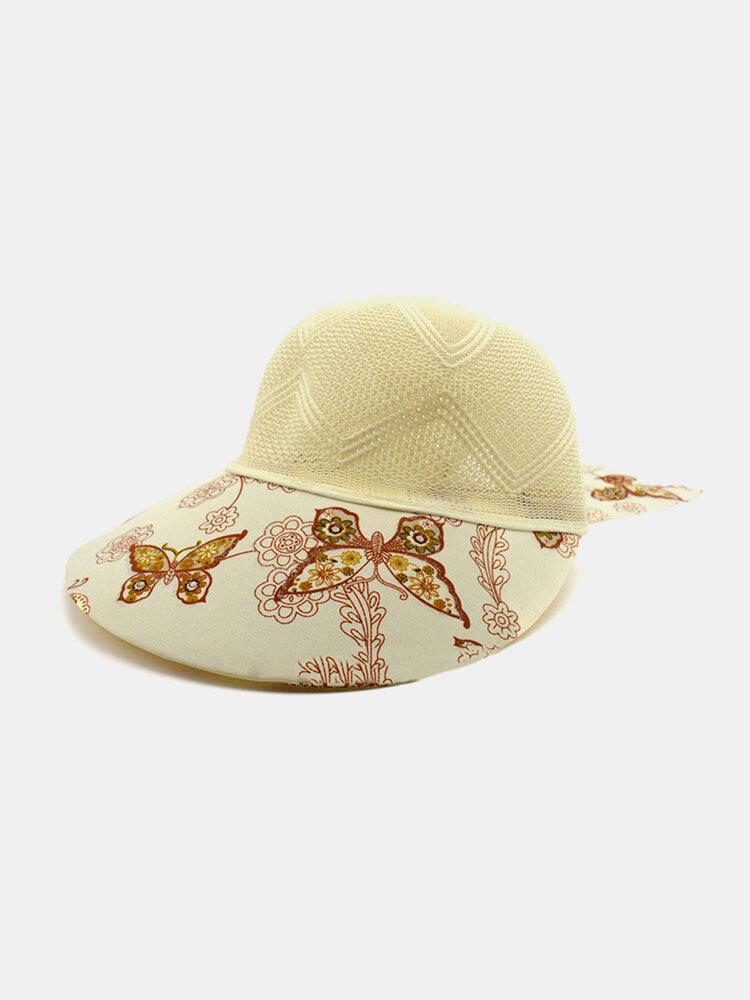 Women Cotton Linen Butterfly Flower Pattern Printing Big Brim Breathable Straw Hats