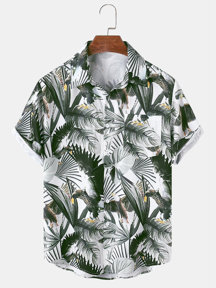 Mens All Over Tropical Plant Leaf Print Lapel Holiday Short Sleeve Shirts