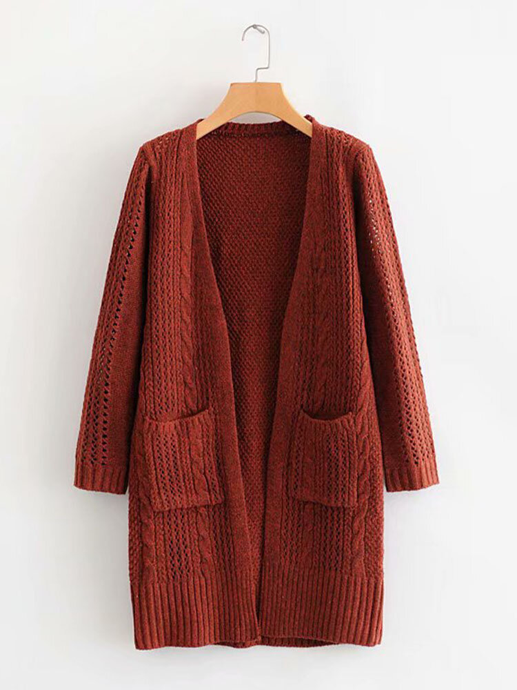 Women Solid Pocket Long Sleeve Loose Knitted Cardigan