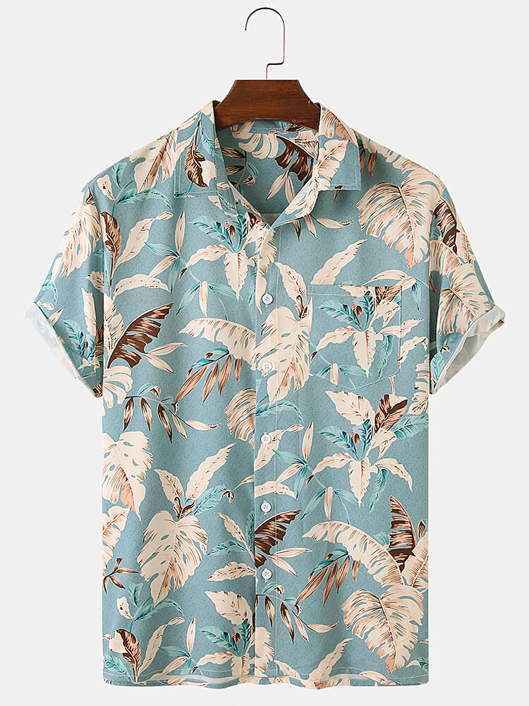 Mens Leaf Print Casual & Breathable Chest Pocket Short Sleeve Shirts