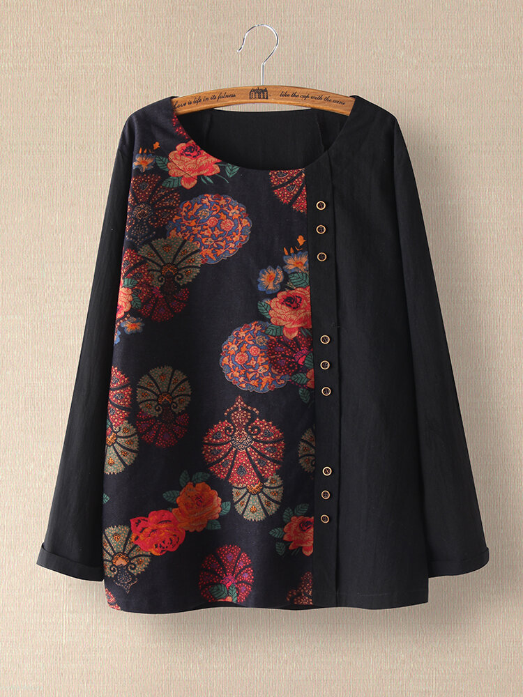 Floral Printed Patchwork Button Long Sleeve Blouse For Women