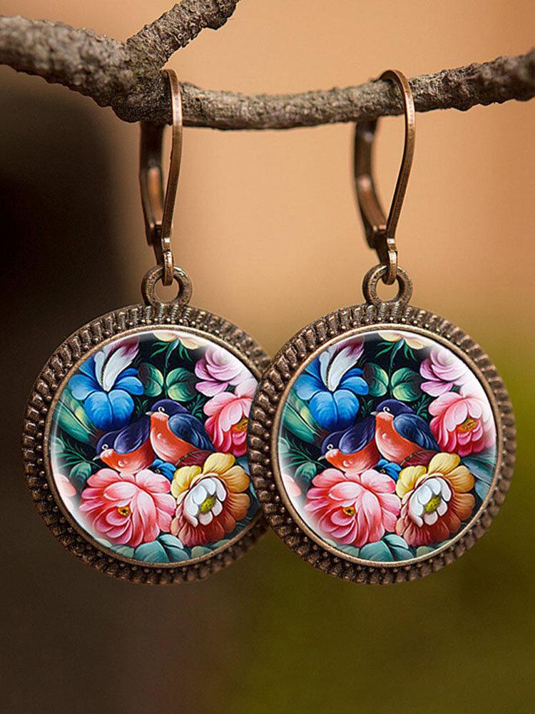Vintage Glass Gemstone Dangle Earrings plant Flower Pattern Women Pendant Earrings Jewelry