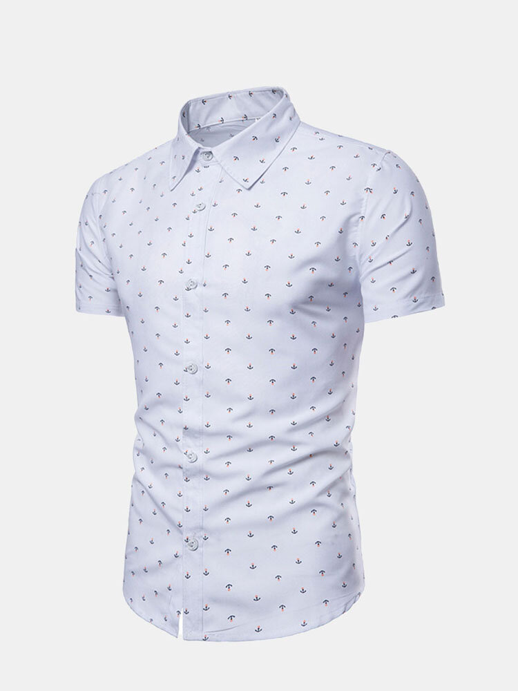 Casual Anchor Printing Slim Fit Short Sleeve Dress Shirts For Men