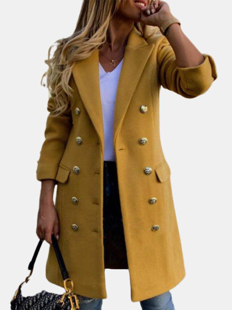 Solid Color Long Sleeve Lapel Collar Button Coat For Women