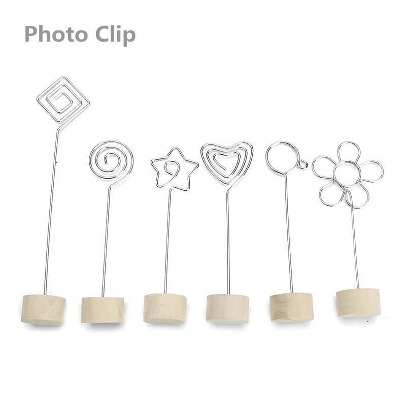 Natural Wood Memo Pincer Clips Paper Photo Clip Holder Wooden Small Clamps Stand for Office Supplies