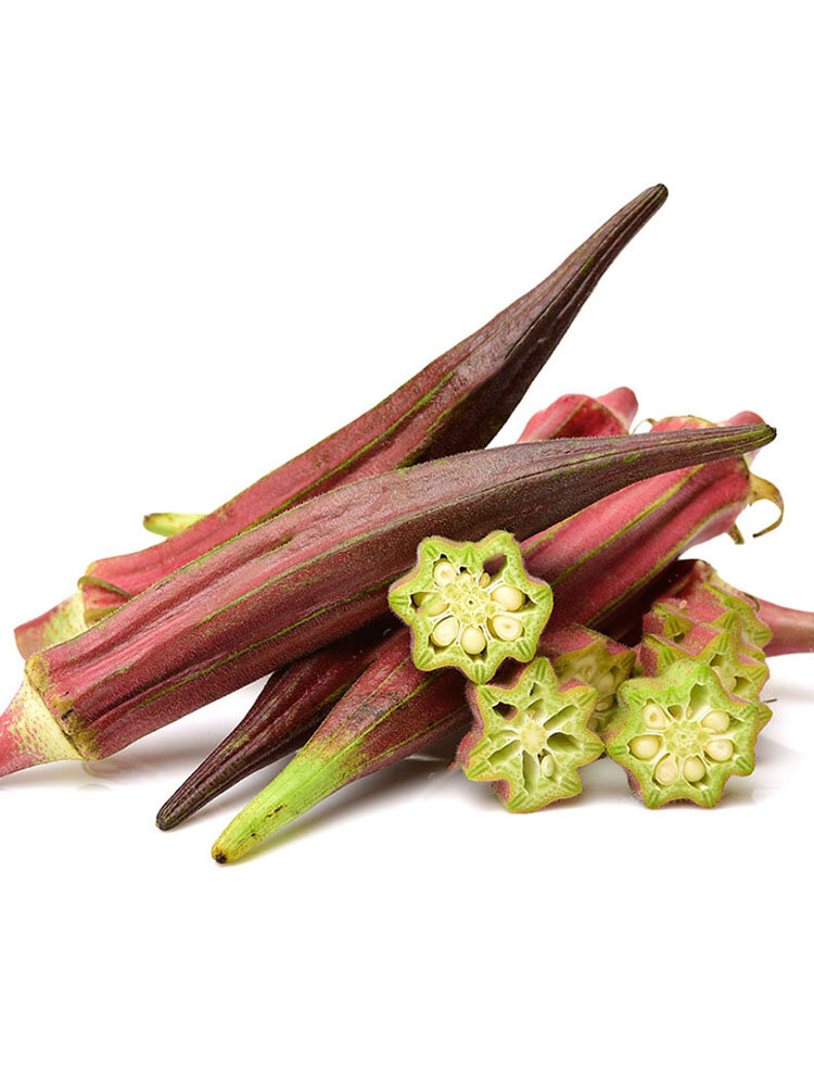 Egrow 100 Pcs Okra Seeds Red Okra Bonsai Healthy Chinese Vegetable Herbal Non-GMO for Home Gard