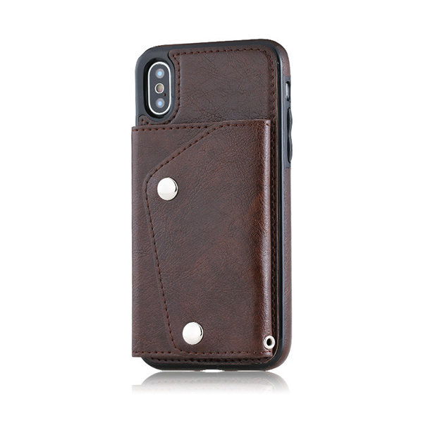 Hot-sale Men And Women Phone Case For Iphone6/7/8/9/X Solid 3 Card Slot Multi-function Purse