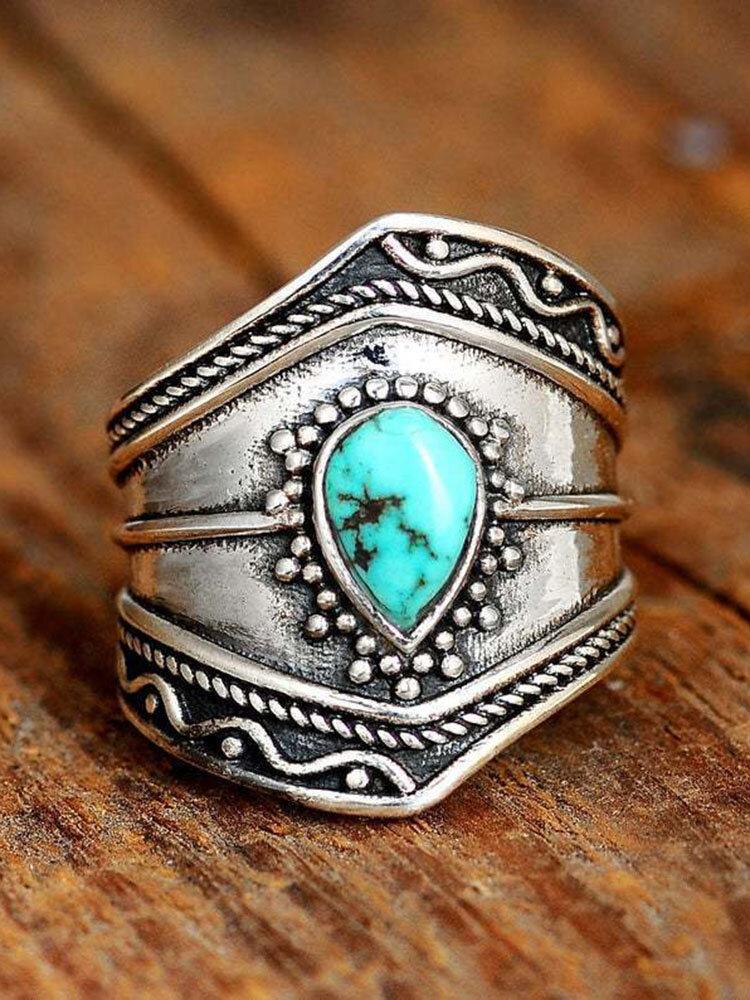 Turquoise Alloy Vintage Bohemian Irregular Ring Drop-shaped Rings