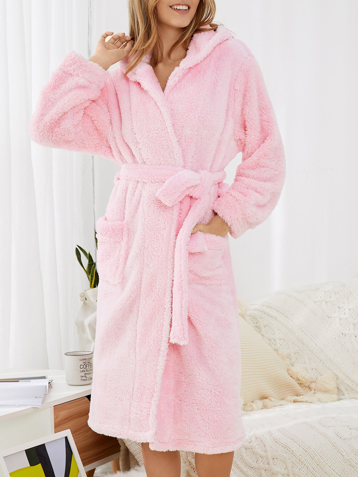 Women Fluffy Plush 3D Ear Double Pocket Solid Cozy Hooded Robe With Belt