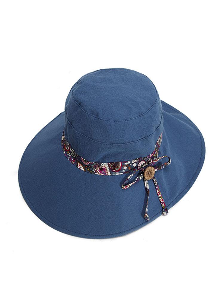 Women Summer Double-sided Wear Sunscreen Bucket Hat Casual Anti-UV Wide Brim Beach Hat