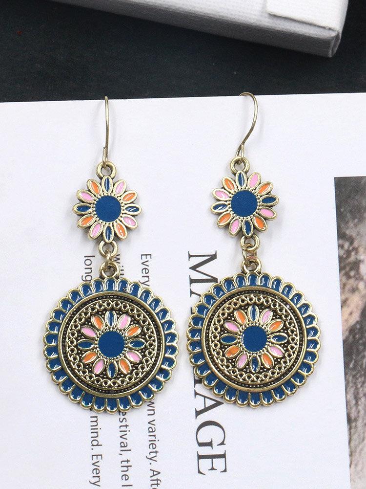 Bohemian Sun Flower Earrings Alloy Long Style Earrings Round Ear Drop For Women