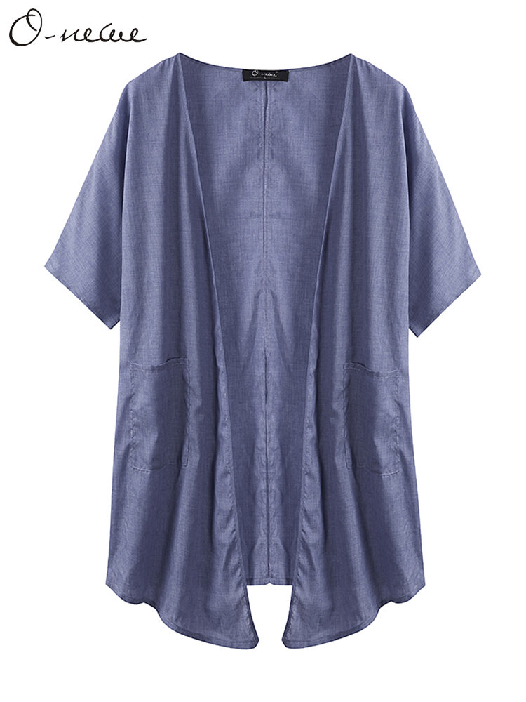 O-NEWE Casual Half Sleeve Pocket Kimonos For Women